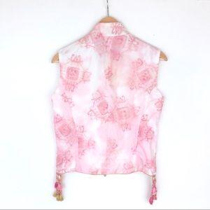 Ermanno Scervino Jackets & Coats - NWT Ermanno Scervino pink embroidered vest 42/4-6